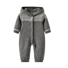 лучшая цена newborn baby long sleeves romper knit Baby Clothes baby winter snowsuit Newborn bebes Hooded Clothes Boys Jumpsuit Coverall