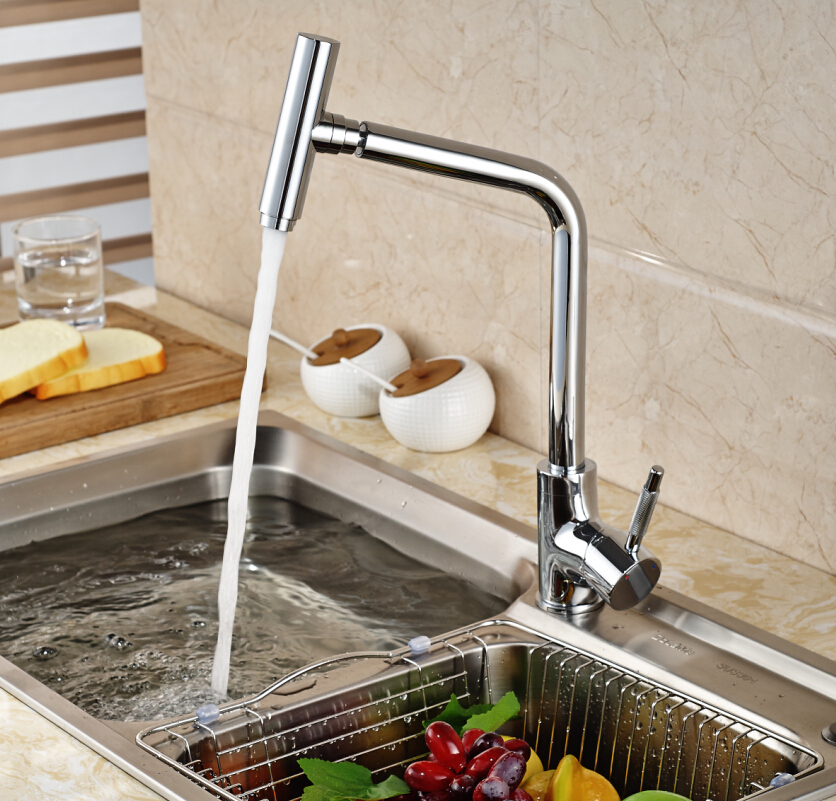 Luxury Chrome Brass Deck Mount Single Handle Kitchen Sink Faucet with Hot Cold Water Swivel Rotation