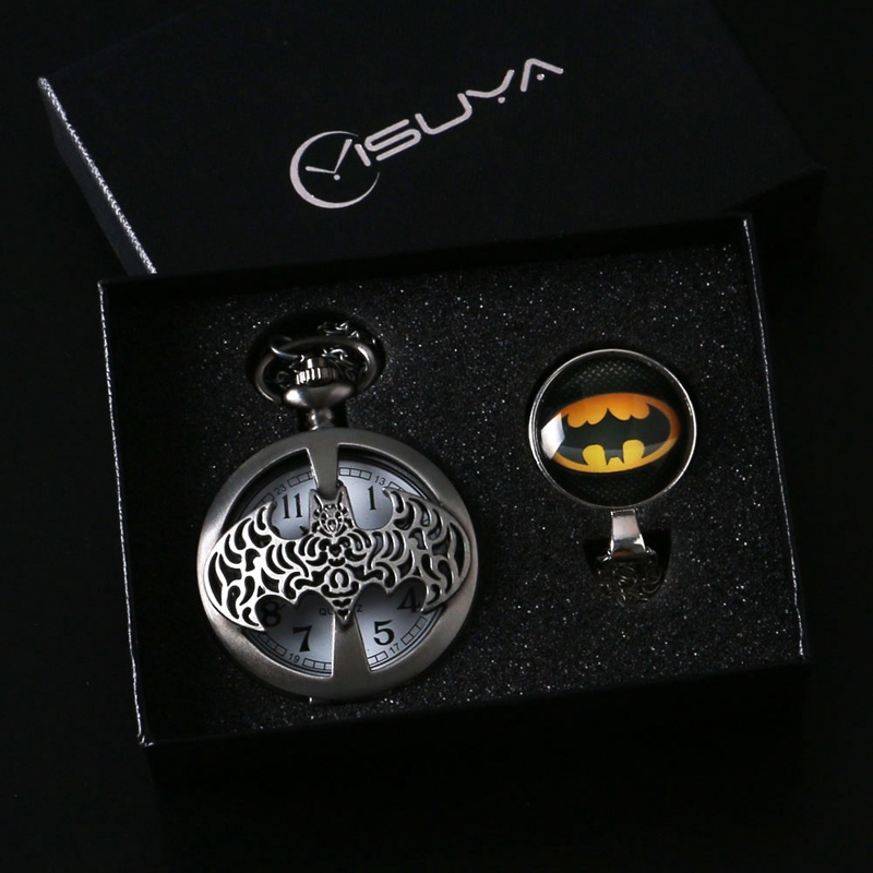 Steampunk Gift Set for Boy Men Batman Pocket Watch Necklace Steel Novelty Silver Hollow Quartz Fob Watches Pendant Box