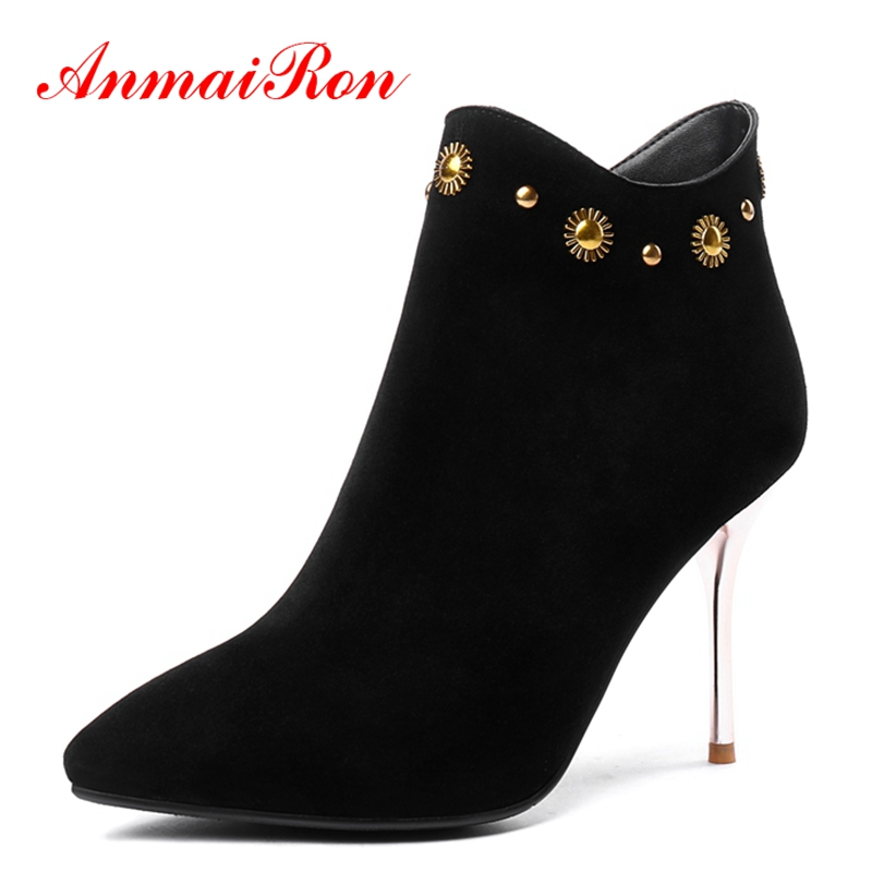 AnmaiRon Pointed Toe Basic Zip Ankle  Boots  Winter Boots for Girls  Zapatos De Mujer  Ankle Boots for Women Size 34-43 ZYL1461AnmaiRon Pointed Toe Basic Zip Ankle  Boots  Winter Boots for Girls  Zapatos De Mujer  Ankle Boots for Women Size 34-43 ZYL1461