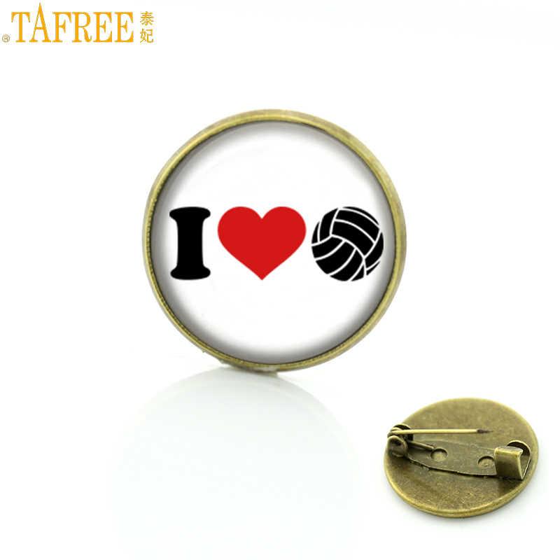 TAFREE Marca 2017 nueva moda hombres mujeres Amo Voleibol pins insignia ocasional deportes eventos regalos joyería broches hechos a mano SP205