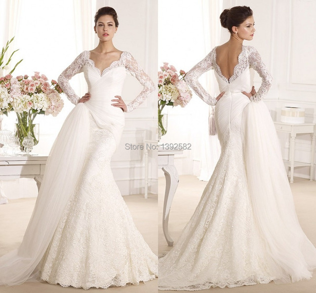 Vogue V neck Lace Full Sleeve Mermaid Wedding Gowns 2015 Vintage ...