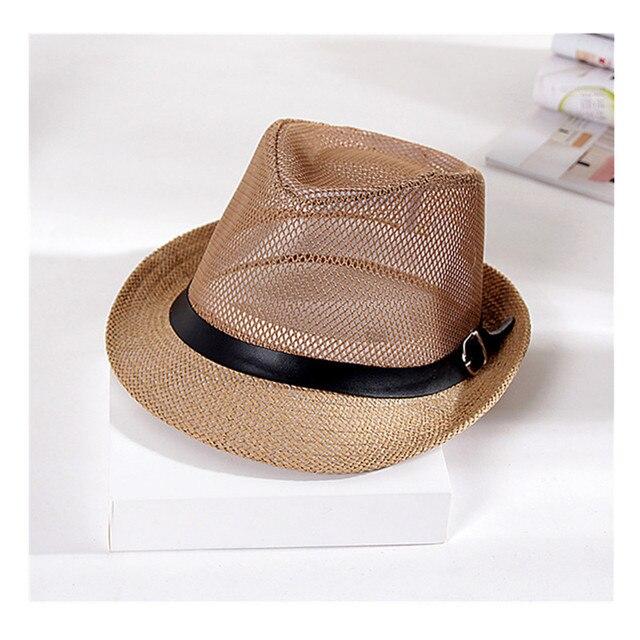 Baru Unisex Jerami Hollow Keluar Mesh Topi Jazz dengan Kulit Musim Panas Panama  Topi Pantai Fedora a4634dfbef