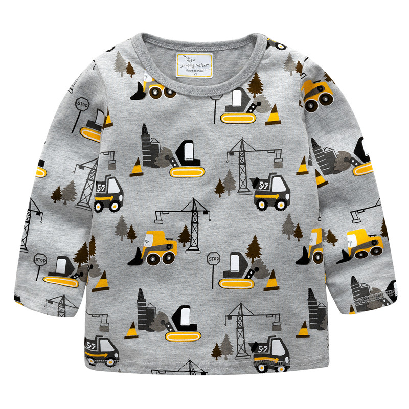 Jumping meters Boys Tshirt Baby Boy Clothes Forklift Pattern Children T shirts Toddler Boy Long Sleeve Tops 2018 Brand boy shirt