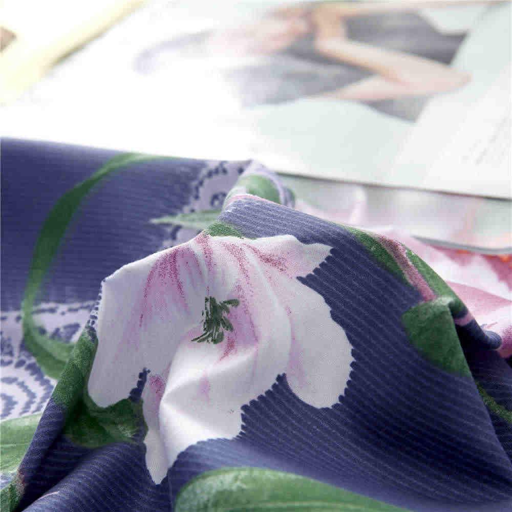Liv-Esthete Pastoral Flower Bedding Set Duvet Cover Bedspread Flat Sheet Pillowcase Double Queen King Bed Linen For Girl Gift