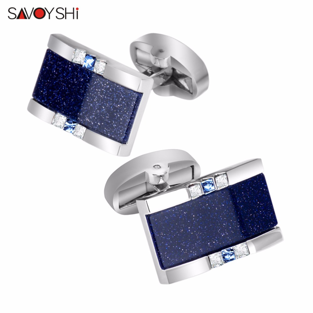 SAVOYSHI Low-key Luxury Star Stone Cufflinks For Mens Shirt Brand Cuff Bottons High Quality Square Cufflinks Gift Men Jewelry