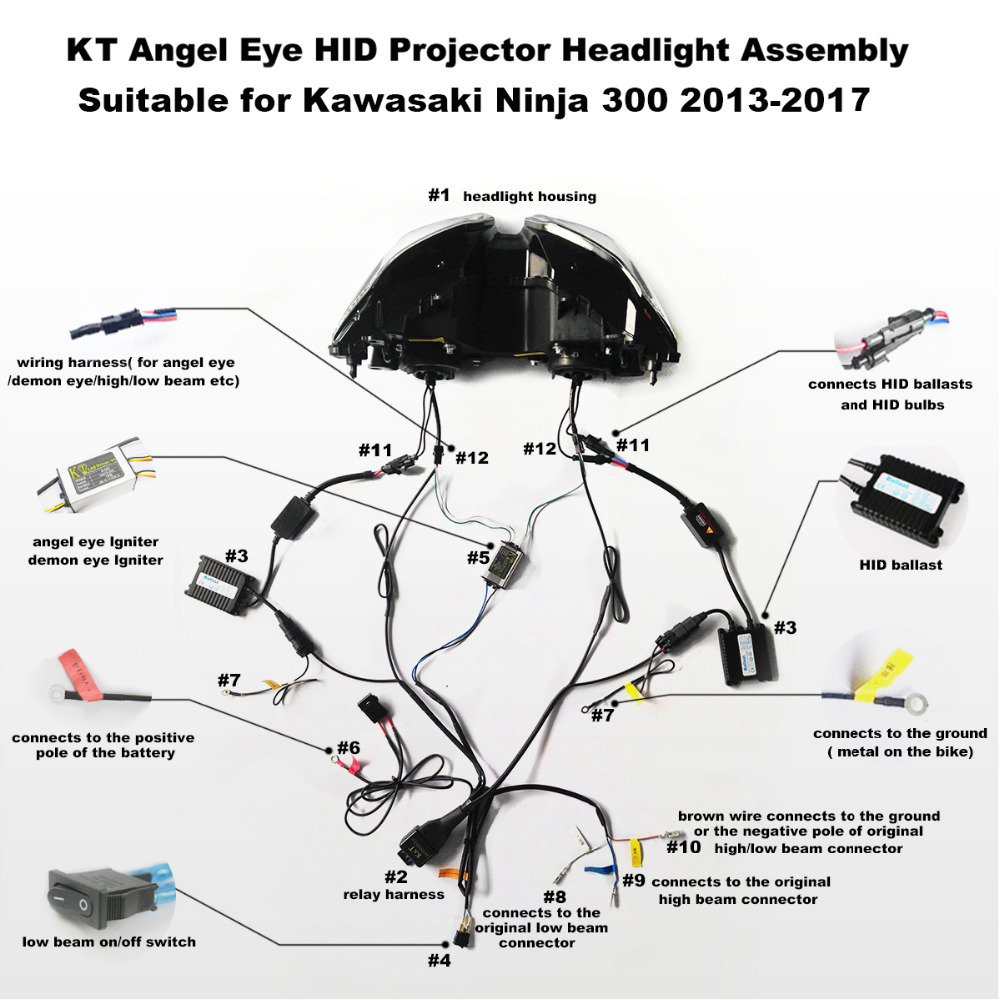 KT Headlight for Kawasaki Ninja 300 2013 2017 LED Angel Eye Blue Demon Eye Motorcycle HID aliexpress com buy kt headlight for kawasaki ninja 300 2013 2017 motorcycle led headlight wiring diagram at bakdesigns.co