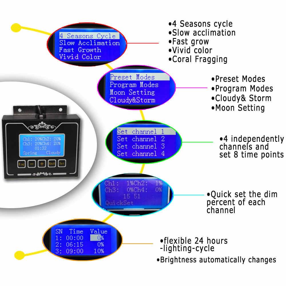 Затемнения таймер 60 см 2ft 24 дюйма Wi-Fi свет аквариума для морских коралловых рифов SPS/LP Fish Tank 60 вт Лунный свет/Lunar cyle светодиодные лампы