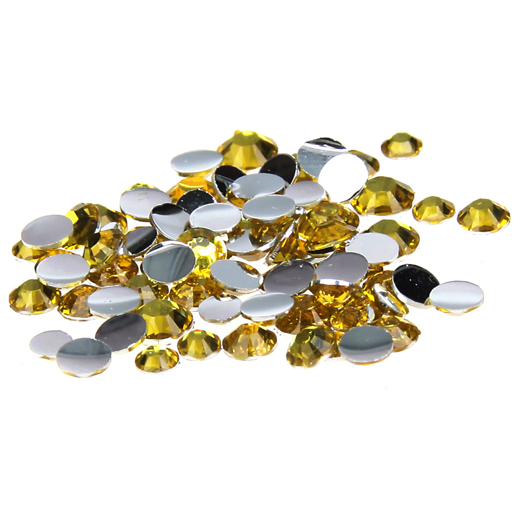 Citrine Glue On Resin Rhinestones 1000-10000pcs 2-6mm Round Flatback Non Hotfix Diamond DIY Craft Bags Shoes Clothes Accessories gitter 2 6mm citrine ab color resin rhinestones 14 facets round flatback non hotfix beads for 3d nail art decorations diy design
