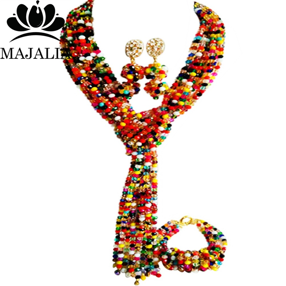 Majalia Classic Nigerian Wedding African Jewelery Set Multicolors Crystal Necklace Bride Jewelry Set Free Shipping 8JU05