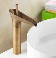 Free Shipping New Antique Brass Single Handle Bathroom Vessel Sink Tap Faucet Can025