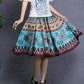 México estilo étnico falda de 2017 del otoño mujeres del verano vintage azul púrpura imprimir una línea de falda de midi envío libre