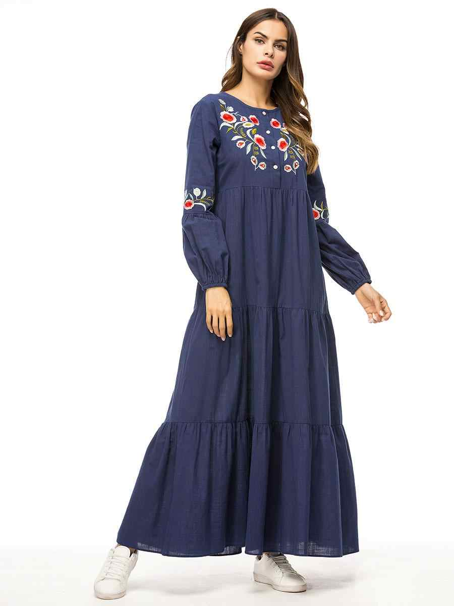Женское мусульманское длинное платье для девочки с вышивкой джинсовой пуговицей в стиле пэчворк с длинными рукавами и круглым вырезом Новинка