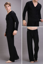 Męskie Sexy jedwab z kapturem kostiumy męskie strój do fitnessu piżamy zestawy Pullover bielizna nocna Homewear Hot Pyajama S M L tanie tanio Mężczyźni Elastyczny pas Modalne Pełna REGULAR 1201 Stałe