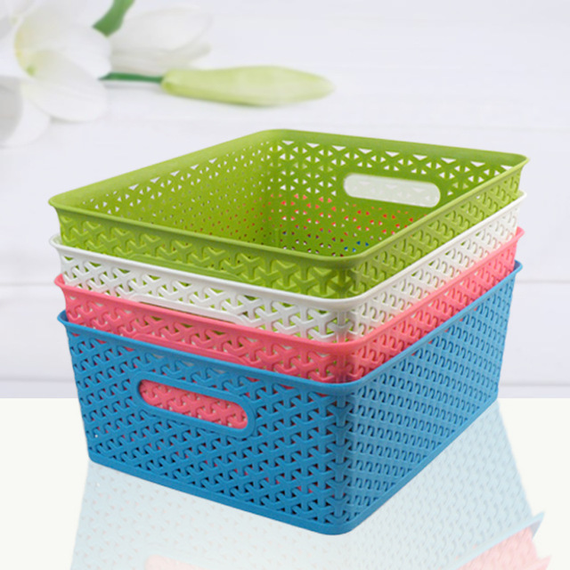3317 European And American Quality Plastic Woven Storage Baskets And  Colorful Toy Box Storage
