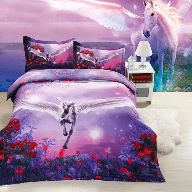 Ivarose 3d print unicorn bedding set beautiful bed set for Cama unicornio