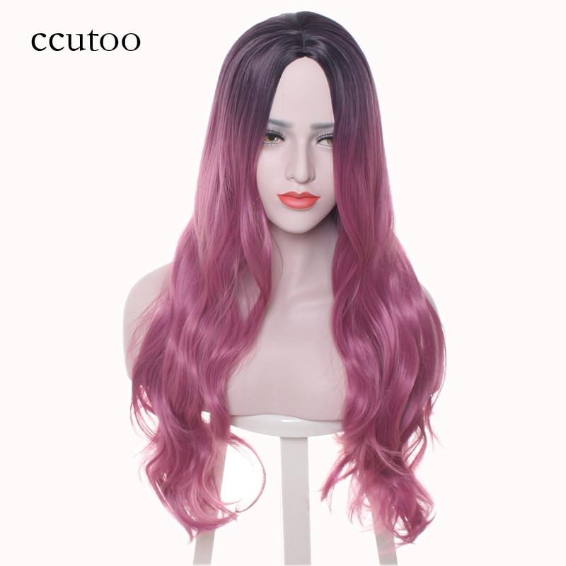 Длинные вьющиеся синтетические волосы ccutoo женщин высокой температуры волокна косплей полный парик центральная часть костюм парики партии