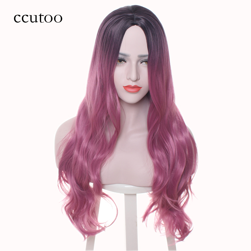 ccutoo Dyed Females Long Curly Synthetic Hair High Temperature Fiber Cosplay Full Wig Central Part Costume Party Wigs
