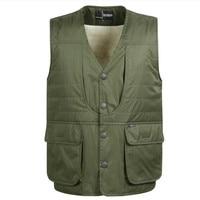2016 Aggiungi lana Inverno Multi-tasca Gilet di Cachemire degli uomini Gilet In Cotone Caldo Big Size Casual Gilet Commercio All'ingrosso di Formato L-4XL