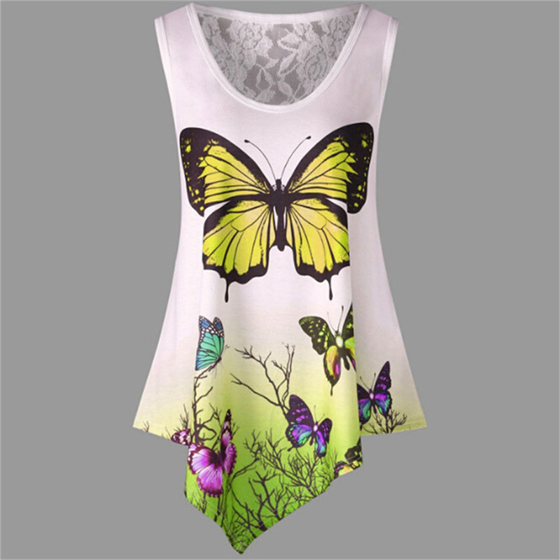 New-Sleeveless-Summer-Casual-Women-T-shirt-Butterfly-Print-Irregular-O-Neck-2018-Tees-Shirt-Fashion (2)