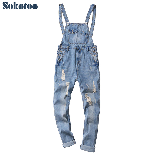 Sokotoo Men's ankle length light blue ripped denim crop bib overalls Plus size distressed jeans Jumpsuits