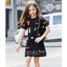 все цены на Girl Summer Dress 10 12 14 16 8 6 Years Black Mesh Girls Clothing 2018 Short Sleeve Children Clothing Sequins Kids Dresses онлайн