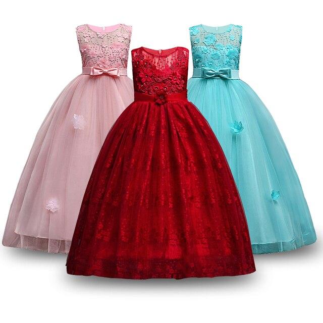 f8c7d43acd90c Ados filles fête robe 2019 élégant fille princesse Costume sans manches  appliques fille robes d