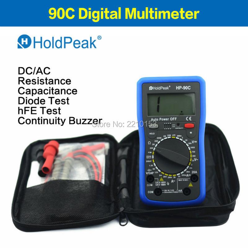 HoldPeak HP-90C 1000V Digital Multimeter Meter with Battery/Resistance/Capacitance Test 90C mini multimeter holdpeak hp 36c ad dc manual range digital multimeter meter portable digital multimeter