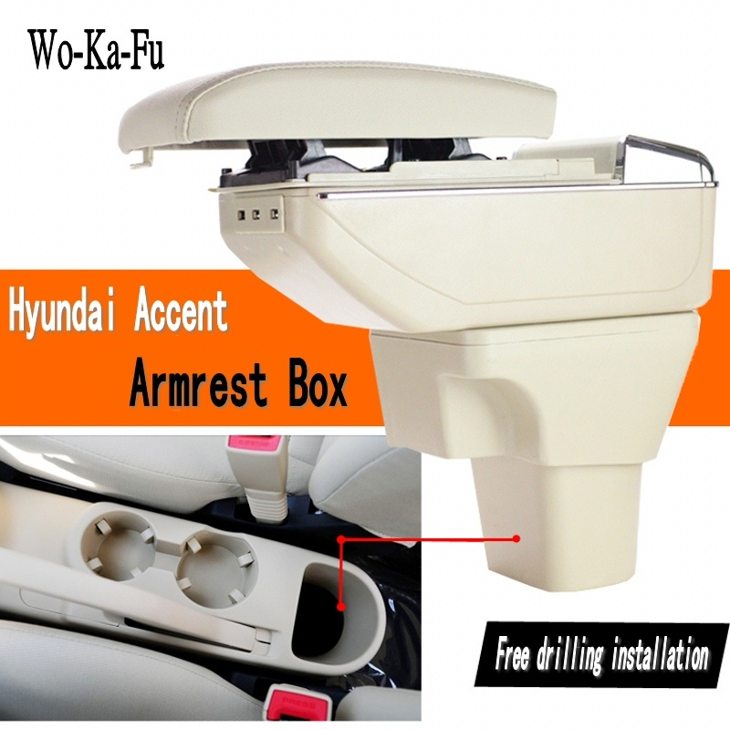 For Hyundai Accent armrest box central Store content Storage box with cup holder ashtray products 2006-2017 universal leather car armrest central store content storage box with cup holder center console armrests free shipping