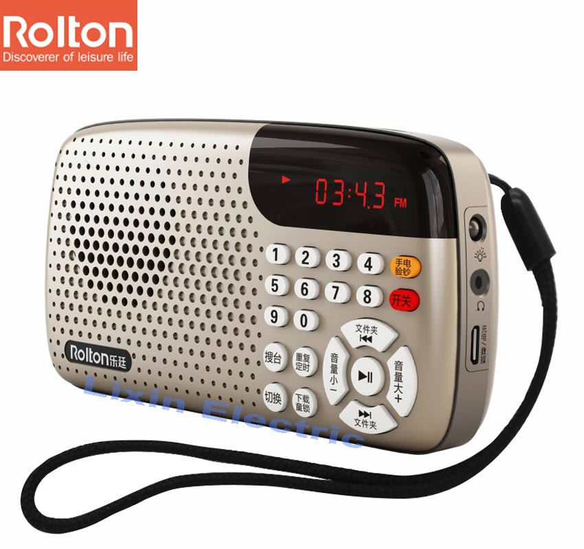 Rolton W105 Portable Radio LED Display Shows The Lyrics Support ...