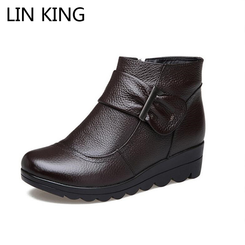 LIN KING Women Snow Boots Leather Ankle Short Boots Shoes