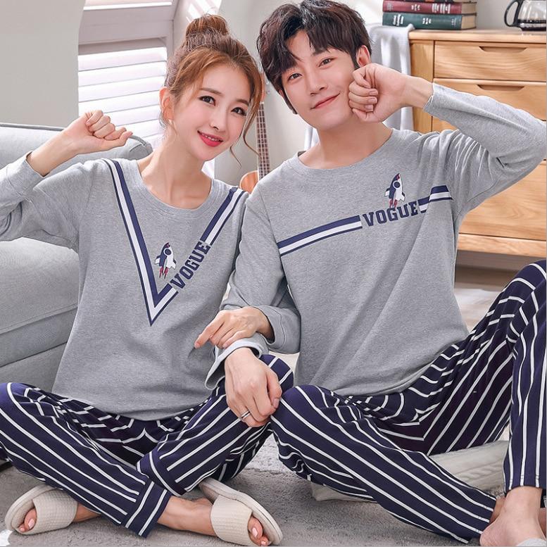 Couple Lovers   Pajamas     Sets   Women Long-sleeved Summer Pyjama Loose Men Thick 100% Cotton Couples Pijama   Set   Sleepwear Top+ Pants