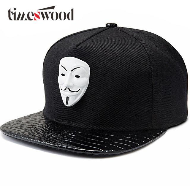 c01b971fa3c98 Do punk Hip Hop Snapback Caps V For Vendetta Bonés de Beisebol Preto  Chapéus de Aba