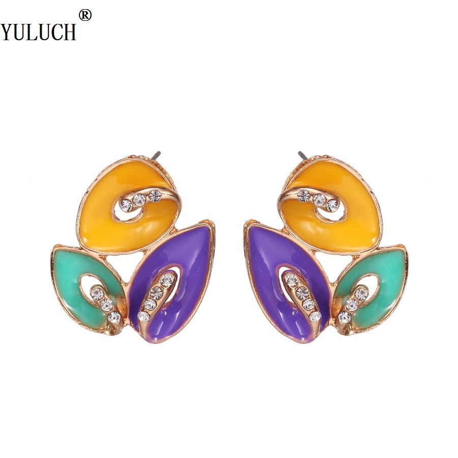 Yuluch New Design Stud Earrings Multicolor Planting Leaf