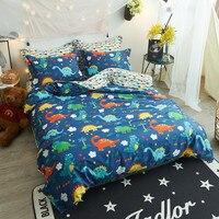 Colorful Dinosaurs Simple Bedding Sets 3 4Pcs Twin Queen Size Cotton Bedlinens Duvet Cover Flat Sheet