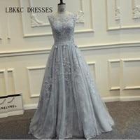 Real Photos Grey Long Prom Dresses 2016 Floor Length Tulle With Lace Vestido De Formatura Longo Party Dresses Elegant A Line