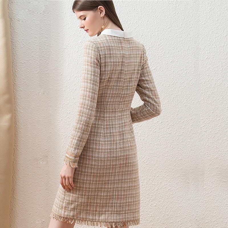 HELIAR kaki Tweed hiver Chic robe à carreaux pour femme mode personnalisé Midi bureau dame robe épaisse gland mince élégante robe - 3