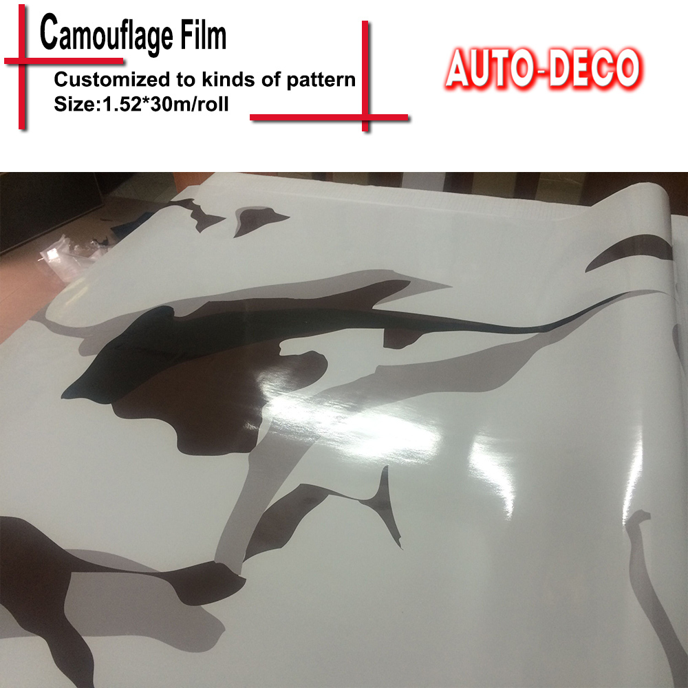Snow Camouflage Film for Cars Urban Camo Vinyl Car Wrap Black and White Hydrographic Film 1.52*5m/10m/15m