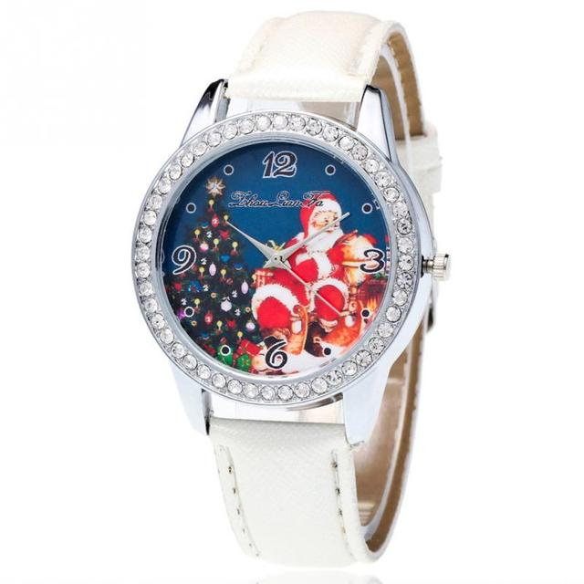 Casual Fashion New Pretty Santa Claus Pattern Crystal Lovers Women& Men Leather