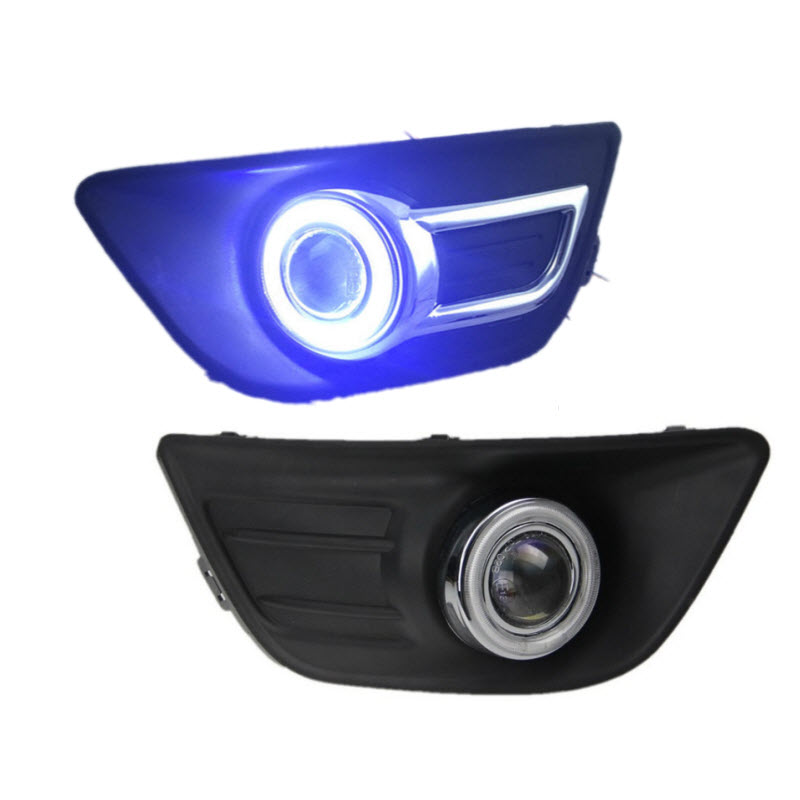 For Citroen C4 2009-2012 Car-Styling White Angel Eyes DRL Yellow Signal Light H11 Halogen / Xenon E13 Fog Lights Projector Lens car styling for volkswagen polo 2006 2010 led angel eyes drl yellow signal light h11 halogen fog lights with projector lens