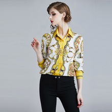 ARiby Women Blouse Elegant Casual Printed Shirts 2019 Spring New Fashion Office Lady Slim Long Sleeve Womens Tops and Blouses