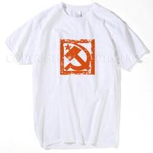 Martillo y sickle distressed sign camiseta comunista Rusia comunismo rojo manga  corta cuello redondo Camiseta promoción s- xxxl 32502a8641444