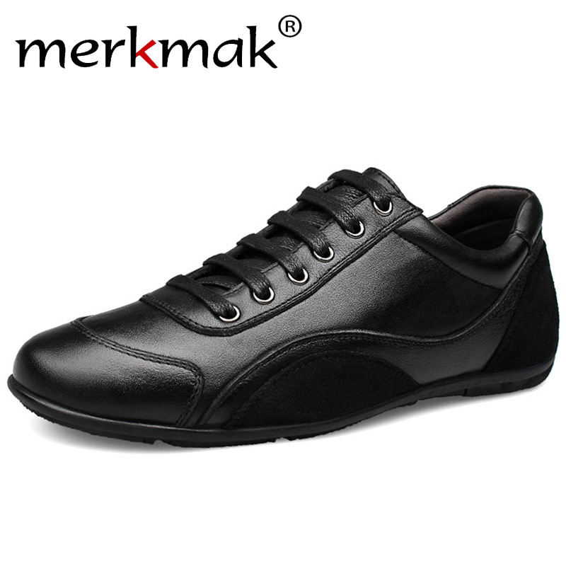 Merkmak Brand Genuine Leather Men Casual Shoes 2018 New Arrive Leather Men Shoes Luxury High Quality Trendy Shoes For Men Flats martins real leather plus velvet british style high heel womens fashion boots winter 2015 lace up pointed toe ankle side zip