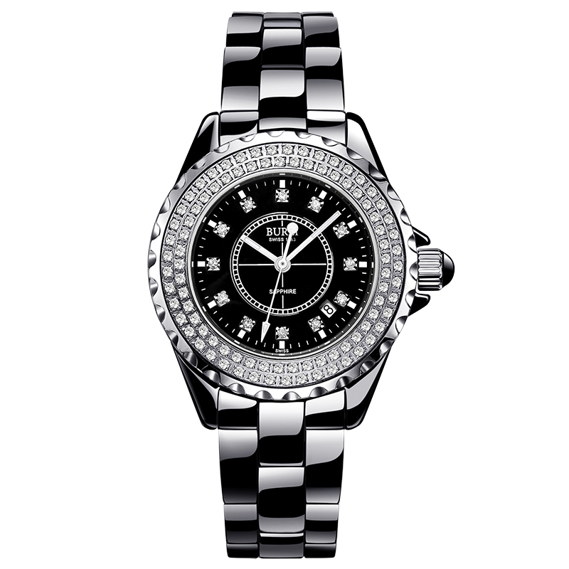 BUREI 18003 Switzerland watch women luxury brand J12 series Austria diamond Ceramic calendar Double black relogio feminino цена