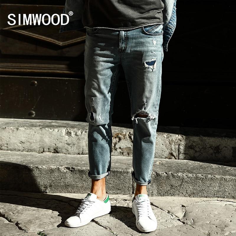 SIMWOOD 2017 New  Autumn Hole Jeans Men Ankle-Length Pants Fashion Slim Fit Biker Brand Clothing Plus Size SJ6092 aismz new high quality jeans men casual fashion trouser slim fit ankle length scratched denim pants male brand clothing 60006