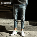 SIMWOOD 2017 New Spring Hole Jeans Men Ankle-Length Pants Fashion Slim Fit Biker Brand Clothing SJ6092