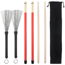 4pcs Jazz Drumsticks Set Include 5A Maple Bamboo Steel Wire Brushes and Velvet Bag