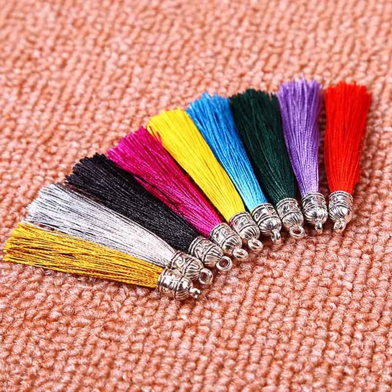 10 шт./лот, разноцветные кисточки из полиэстера 6,5 см с серебряным металлическим колпачком, украшение, Очаровательная бахрома, кисточки, подв...