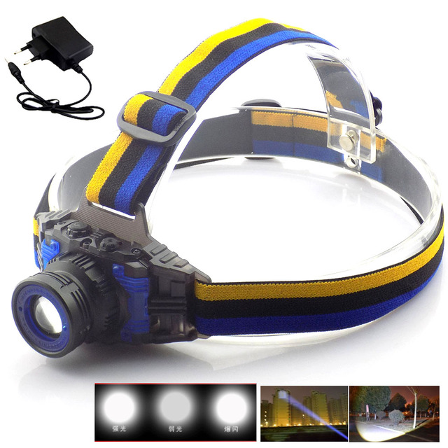 Powerful Q5 Headlamp Rechargeable Zoomable Focus Frontale LED Head Lamp Flashlight Torch Headlight for Fishing Camping + Charger