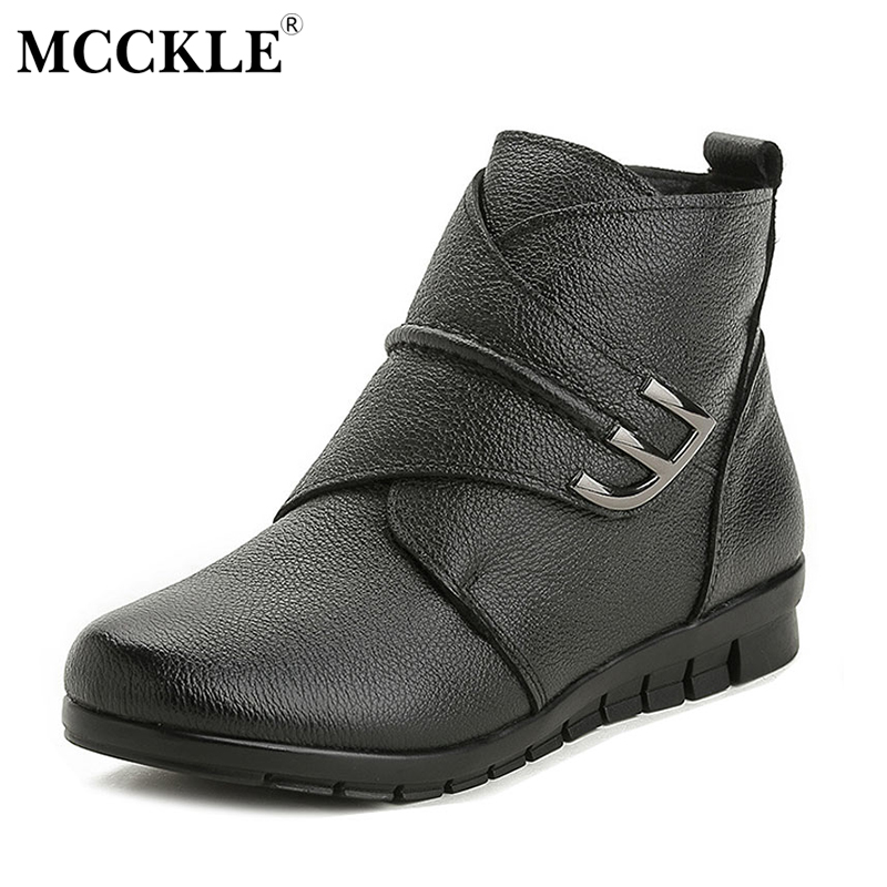 MCCKLE 2017 Ladies Genuine Leather Winter Warm Plush Ankle Boots Female Hook&Loop Slip On Fashion Suede Platform Wedge Shoes fine zero spring women casual suede genuine leather platform flats tassel wedge slip on ladies creepers shoes red fur winter